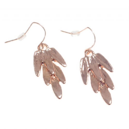 Sweeping Feathers Drop Earrings in Rose Gold